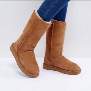 Ugg Tall Classic Boots Chestnut Sz 4 Fold Down